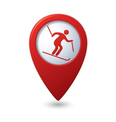 Map pointer with downhill skiing icon vector