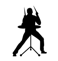 Silhouettes of musicians with drum system vector
