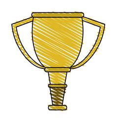 color crayon stripe cartoon golden cup trophy vector image