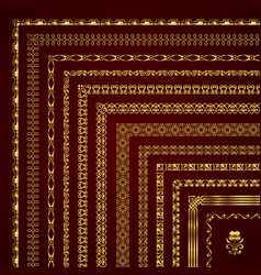 Decorative corner borders and frames in gold vector
