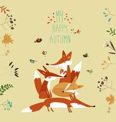 Cute foxes with autumn leaves and plants vector