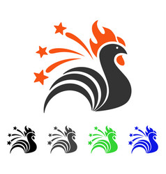 fireworks rooster flat icon vector image