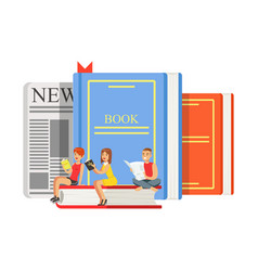 Micro young women and man sitting on a giant books vector