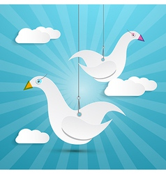 Paper birds hang on rope vector