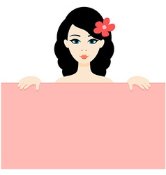 Portrait of the Cartoon Brunette Girl Holding the vector image