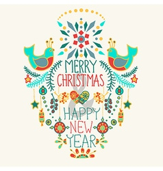 Christmas background with cute floral ornament and vector image