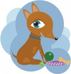 Dog with toys vector