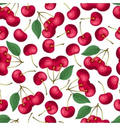 Seamless nature pattern with cherries vector