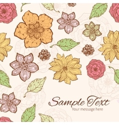 Warm fall lineart flowers frame corner vector