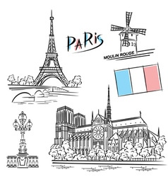 Paris landmark vector
