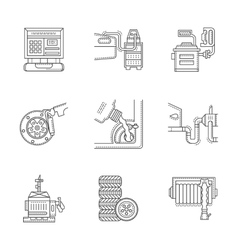 Linear icons set for car service vector