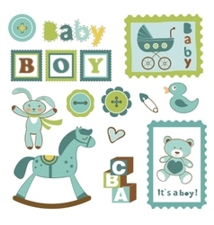 Colorful collection of baby boy announcement vector