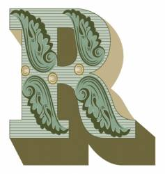 Western letter r vector