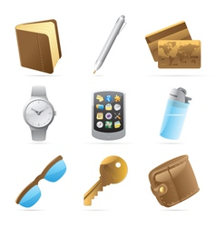 Icons for personal belongings vector image