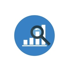 Analytics icon graph and magnifier symbol in flat vector