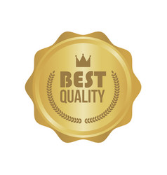 best quality gold sign round label vector image