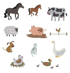 Big set of farm animals vector image