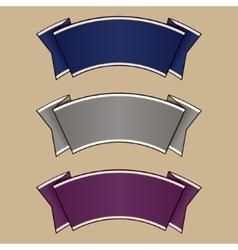 Blue gray and purple ribbon set vector image