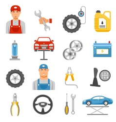 Car repair service flat icons set vector