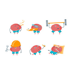Cartoon brain activities set vector