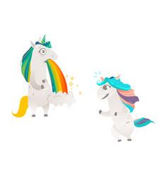 Cartoon unicorn character isolated set vector