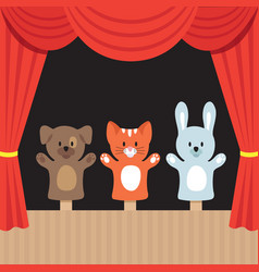 Childrens puppet theater scene with cute animals vector