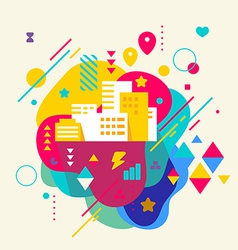 City buildings on abstract colorful spotted vector image