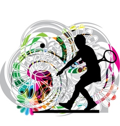 Drawing of woman playing tennis vector image vector image