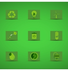Eco friendly icon set in green design on green vector image