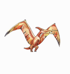 Flying pterodactyl drawing by watercolor vector
