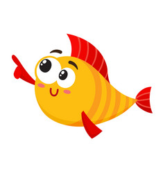 Funny smiling golden yellow fish character vector