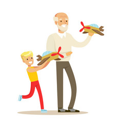 grandfather and boy playing toy planes part of vector image