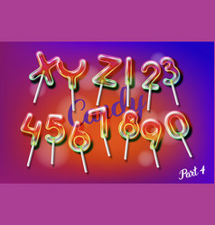 Lollipop sweet candy colorful alphabet font vector