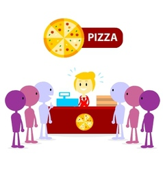Long Queue at Pizza Counter vector image vector image