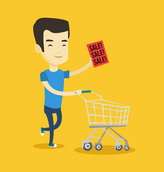 man running in a hurry to the store on sale vector image vector image