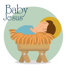 Merry christmas baby jesus lying in a manger vector
