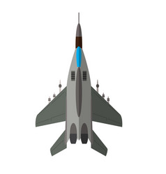 Military airplane top view vector