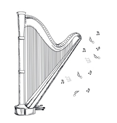 musical instrument harp on white background vector image vector image