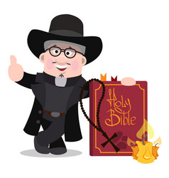 Priest with a large bible cartoon characters vector