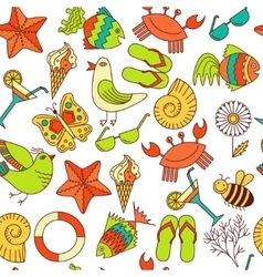 Seamless patterns summer theme vector