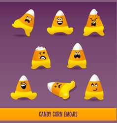 set of candy corn emojis for halloween vector image