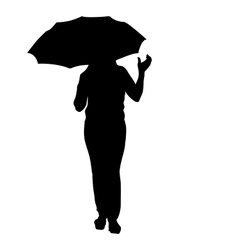 Silhouette of girl with an umbrella vector image