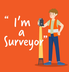 Surveyor character with high technology device vector