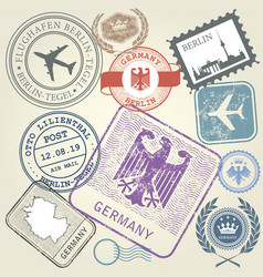 travel stamps set germany and berlin journey vector image