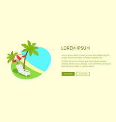 tropical island on round tag isolated near text vector image