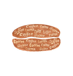 watercolor coffee bean with lettering coffee vector image