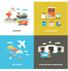 worldwide shipping logistics and industrial vector image vector image