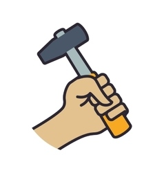 Hammer tool repair construction industrial icon vector