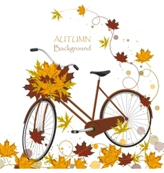 Autumn background with colorful leaves and bicycle vector