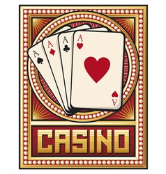 Casino label design - four aces vector